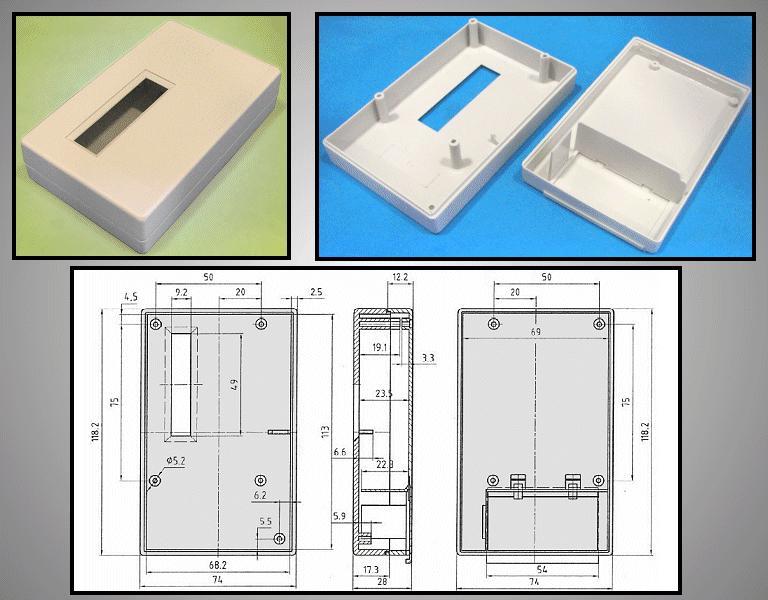 BOX 118x74x29mm ablakos, elemtartó hellyel BOX KM33A/ABS