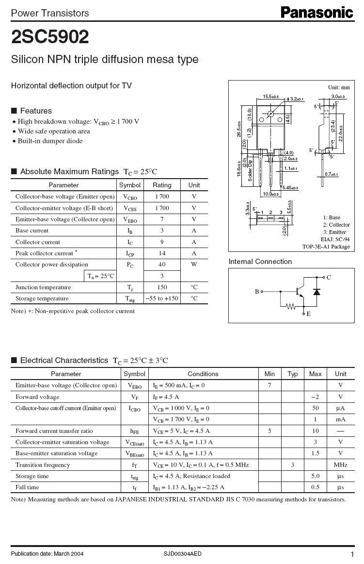 Tranzisztor NPN+DR1700/600V 9A 40W tf:0.5uS, fs:5us 2SC5902 2SC5902 -