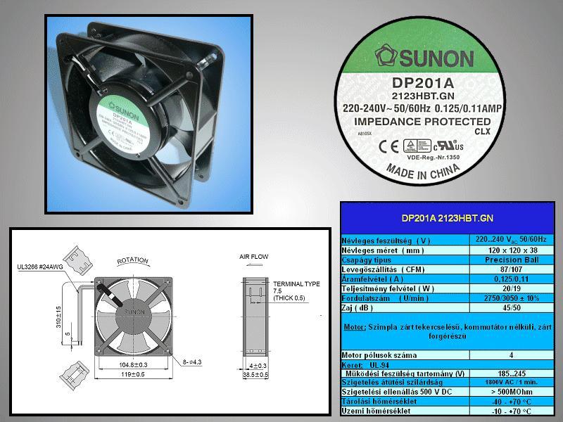 230V ventilátor 120x120x38mm DP201A2123HBT.GN CY 230/12038CS