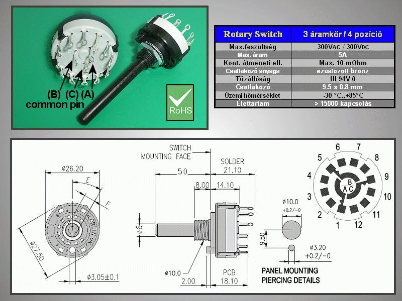 3 érintkezős - 4 állású kapcsoló 30° BBM SWR 3X4 -