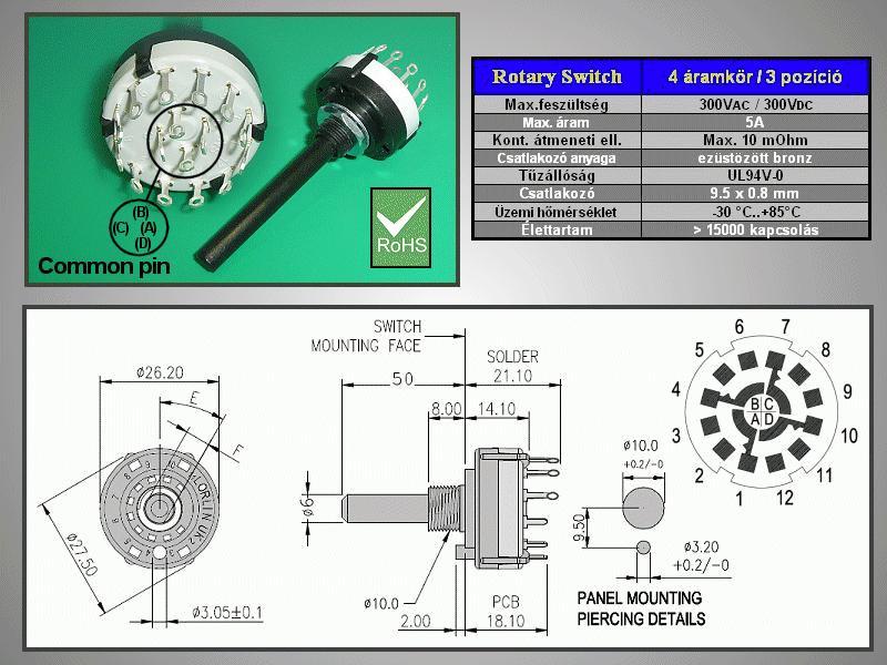 4 érintkezős - 3 állású kapcsoló 30° BBM SWR 4X3 -