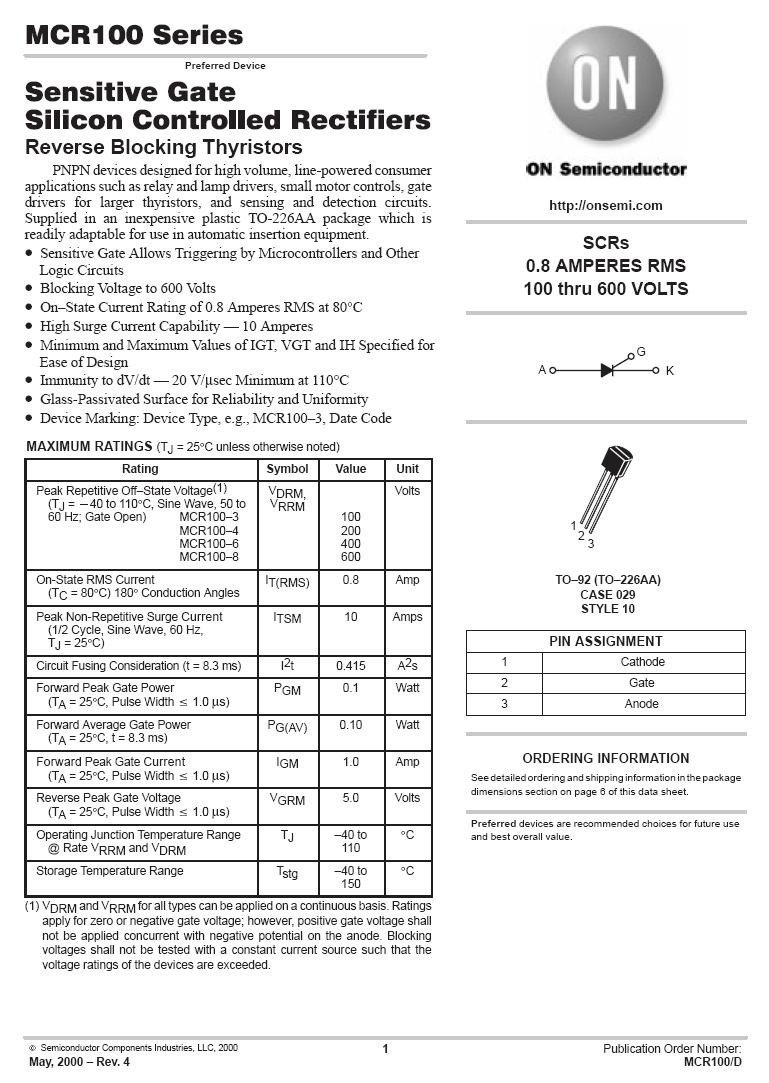Tirisztor 600V 0.8A Igt/Ih<0.2/5mA MCR100-8