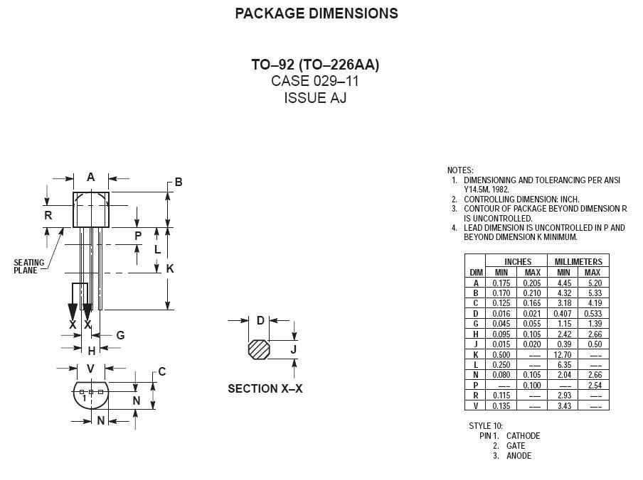 Tirisztor 400V 1.5A Igt/Ih<0.2/5mA MCR22-6