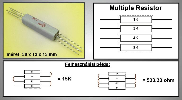 MULTIPLE ellenállás 0.5K ...15K MR 4