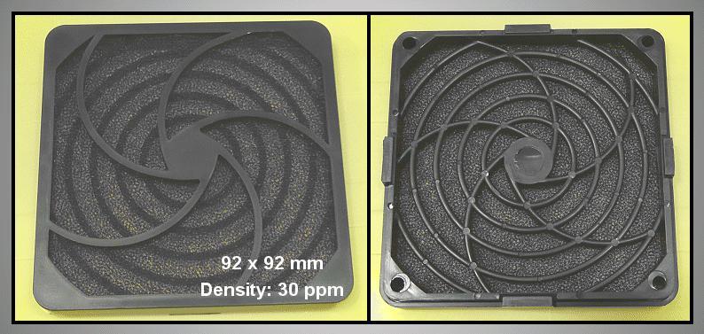 Műanyag rács szűrővel ventilátorhoz 30ppi 92x92 CYP F-090/30