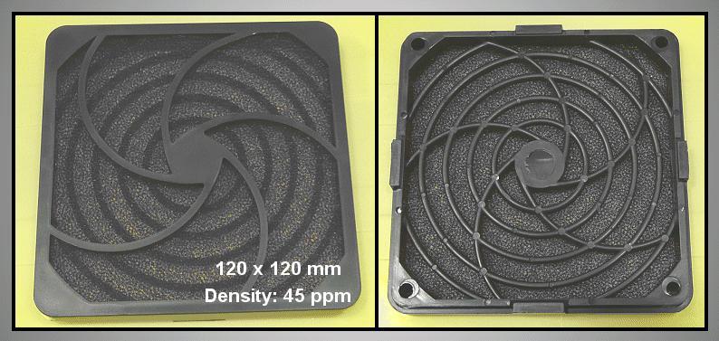 Műanyag rács szűrővel ventilátorhoz 45ppi 120x120 CYP F-120/45