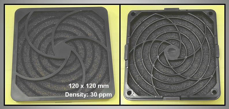 Műanyag rács szűrővel ventilátorhoz 30ppi 120x120 CYP F-120/30