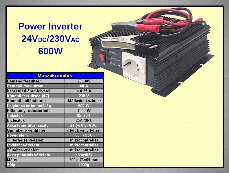 24VDC -> 230VAC 600W inverter (trapéz) P.SUP.INV0600W2