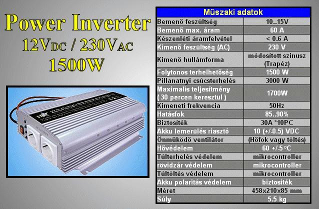 12VDC -> 230VAC 1500W inverter (trapéz) P.SUP.INV1500W1