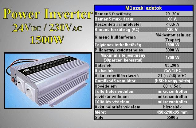 24VDC -> 230VAC 1500W inverter (trapéz) P.SUP.INV1500W2