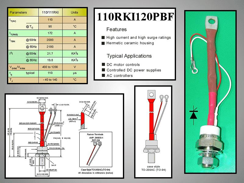 Tirisztor 1200V 110A Igt:100mA 110RKI120