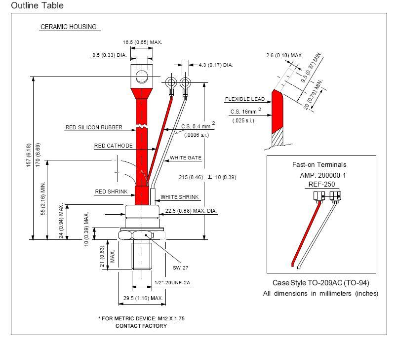 Tirisztor 1200V 110A Igt:100mA 110RKI120 -
