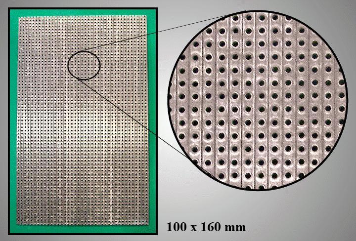 FR4 próbapanel 160x100 soronként maratva PP-1748
