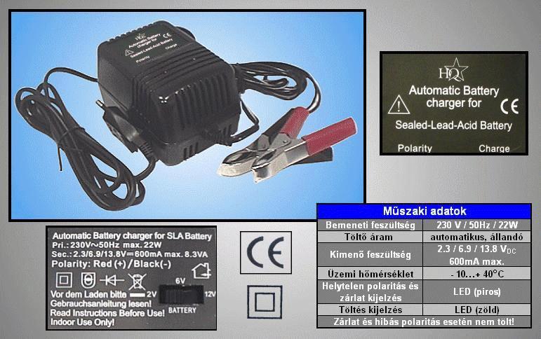 ZSELÉS akkumulátor töltő 2V, 6V, 12V ACCU CHARGER-41