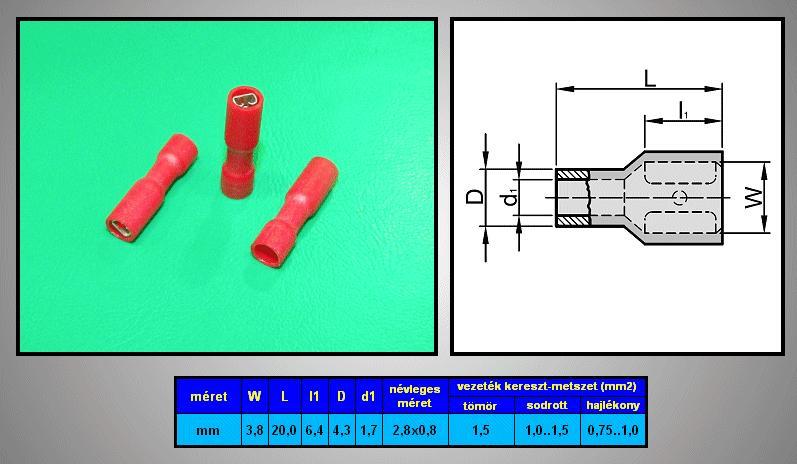 Kábelsaru 2.8/0.8 hüvely 0.5-1.0mm2 piros, szigetelt CS-K1280810/SZR