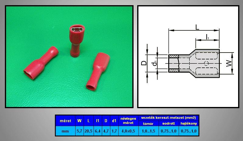 Kábelsaru 4.8/0.5 hüvely 0.5-1.0mm2 piros, szigetelt CS-K1480510/SZR