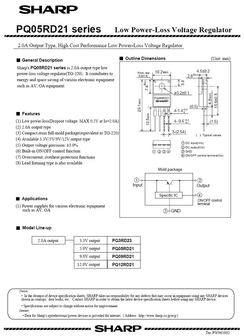POS V-REG.12V 2A +SW 4p. TO220 PQ12RD21