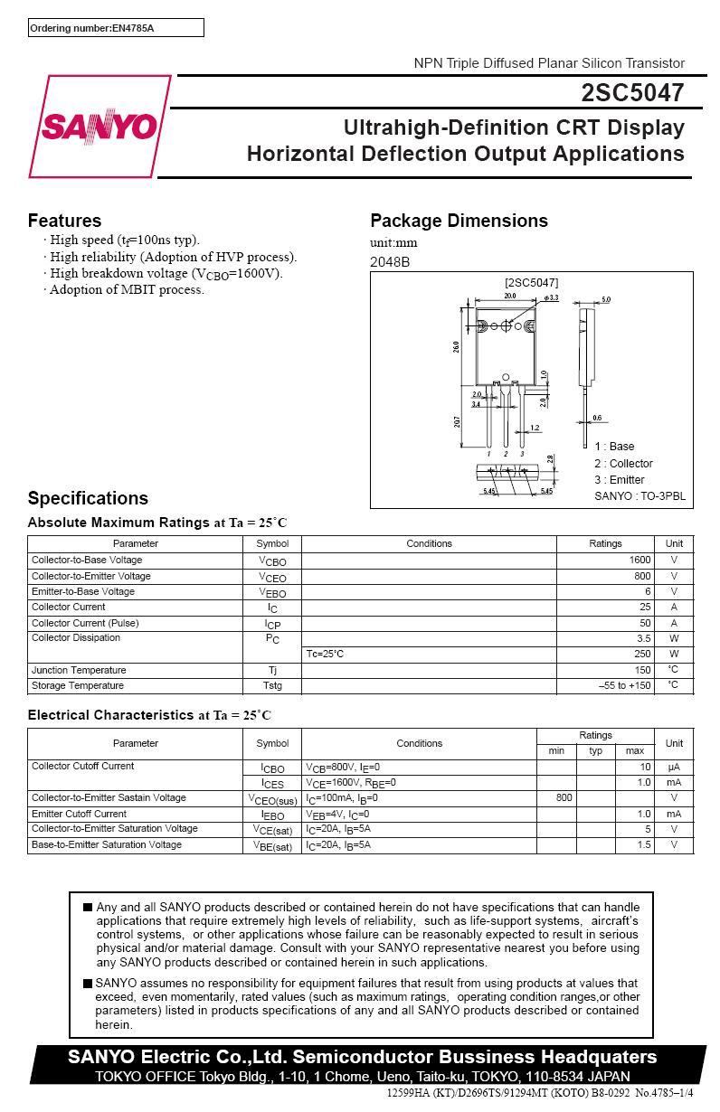 SI-N 1600/800V 25A 250W 0.1uS 2SC5047 -