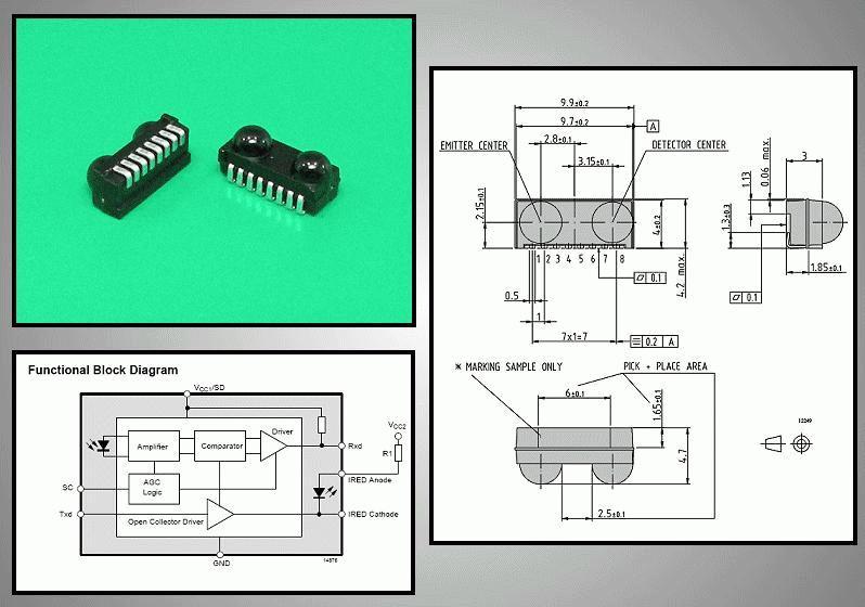 4Mbit/s IRDA gyors infravörös adó-vevő modul TFDU6103
