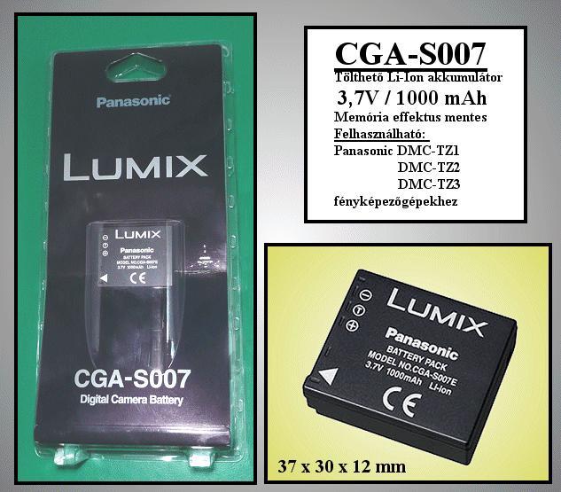 Li-Ion 3.7V 1000mAh akkumulátor CGA-S007E/1B ACCU FOT-007