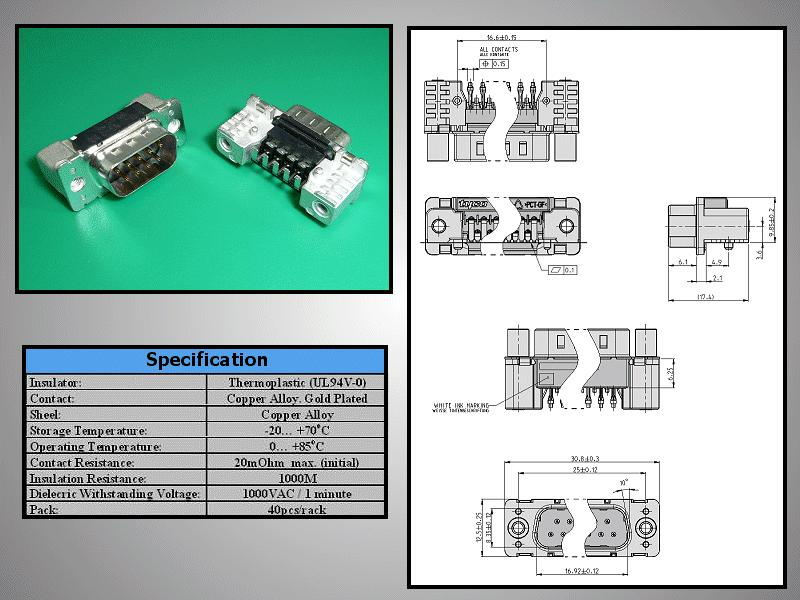D-SUB 9p. dugó PCB SMD CS-DS009P/NS