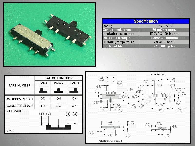 SMD toló mikrokapcsoló 3 poziciós 9.7x2.6mm SW1000SP3/09-3