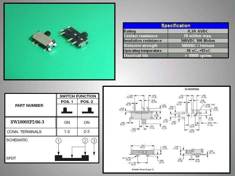 SMD toló mikrokapcsoló 2 poziciós ON-ON 6.7x2.6mm SW1000SP2/06-3