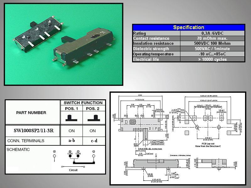 SMD toló mikrokapcsoló 2 poziciós ON-(ON) 11x3.5mm SW1000SP2/11-3R