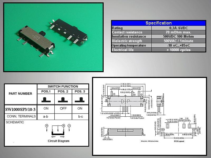 SMD toló mikrokapcsoló 3 poziciós (ON)-OFF-(ON) 10.4x3mm SW1000SP3/10-3