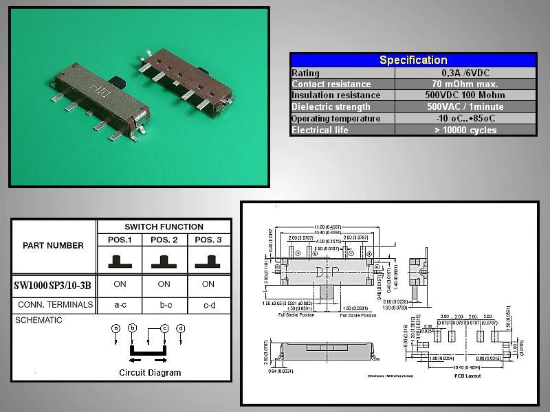 SMD toló mikrokapcsoló 3 poziciós (ON)-ON-(ON) 10.4x3mm SW1000SP3/10-3B