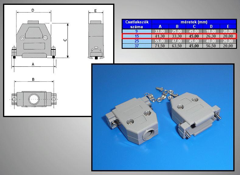 D-SUB 15p. műanyag ház normál csavaros, szürke CS-DS015H/S