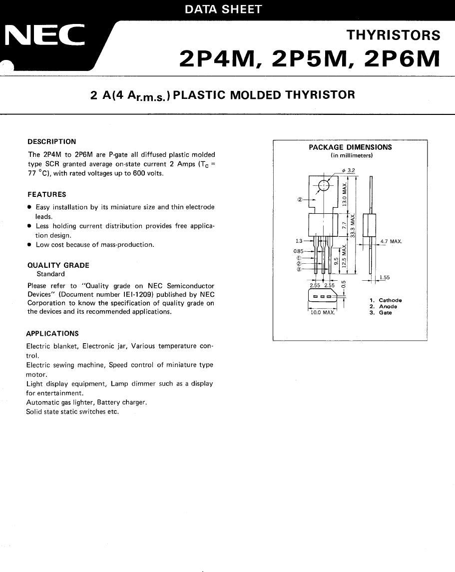 Tirisztor 400V 2A Igt/Ih<0.2/1mA 2P4M -