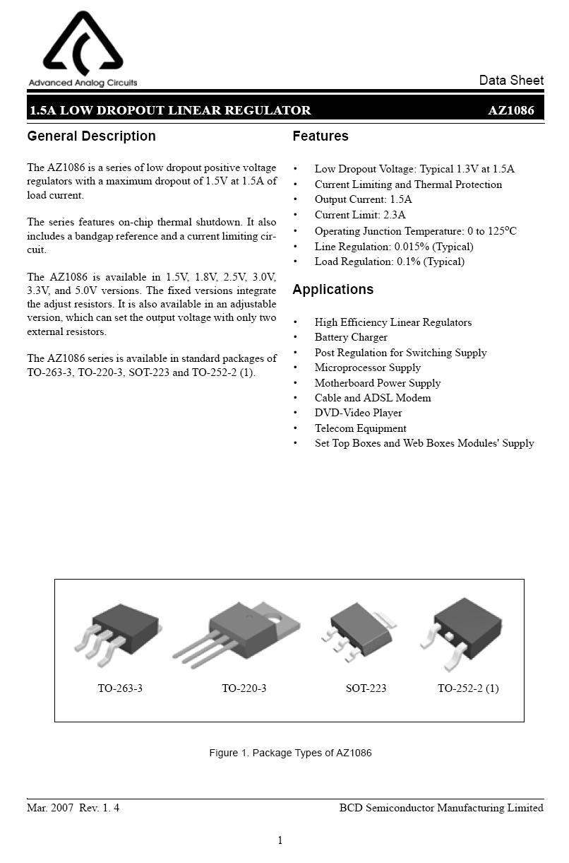 POS.V-REG 1.8V 1.5A 0.5% TO263-3 AZ1086S-1.8EI