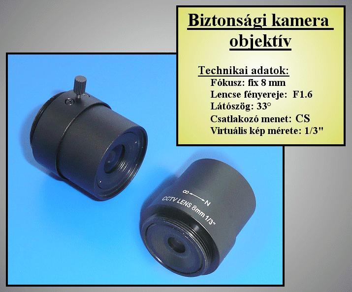 Biztonsági kamera lencse 8mm, FIX Irisz //SEC. LENS030