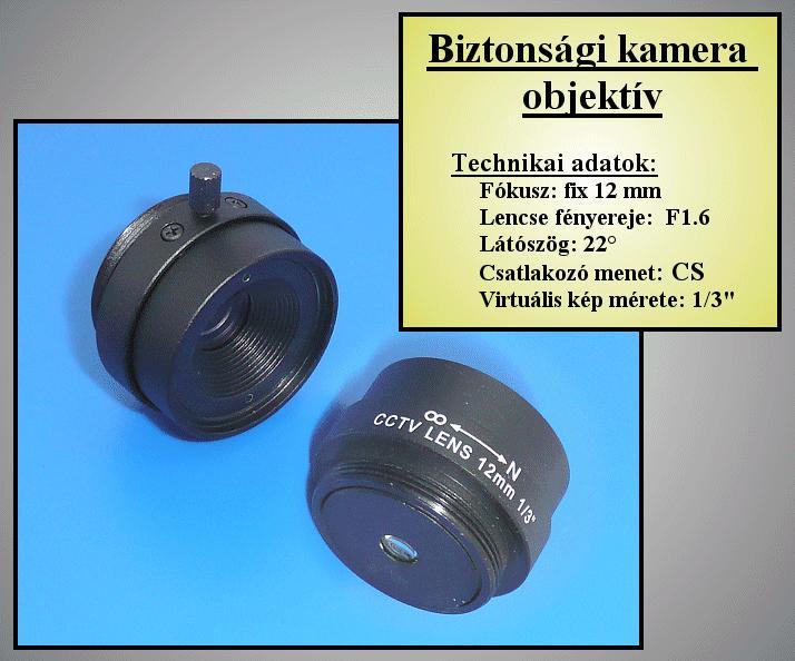 Biztonsági kamera lencse 12mm, FIX Irisz //SEC. LENS040