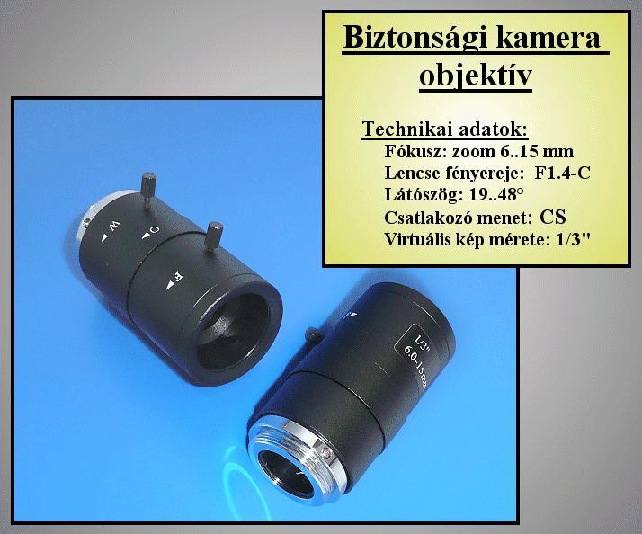 Biztonsági kamera lencse 6-15mm, FIX Irisz //SEC. LENS110