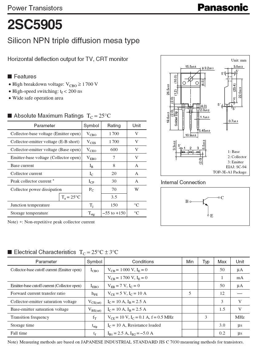 Tranzisztor NPN 1700/600V 20A/30Ap 70W Max: 0.2uS 2SC5905 2SC5905 -