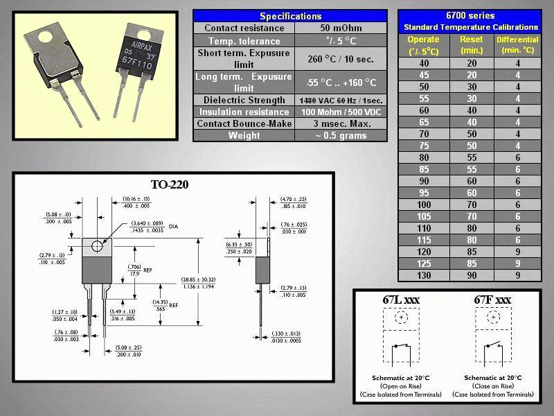 PCB OPEN 70°C / CLOSE 50°C 67L070