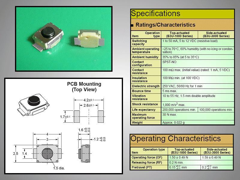 SMD mikrokapcsoló 3x2.5mm 2p gomb:0.4mm SW1000S30