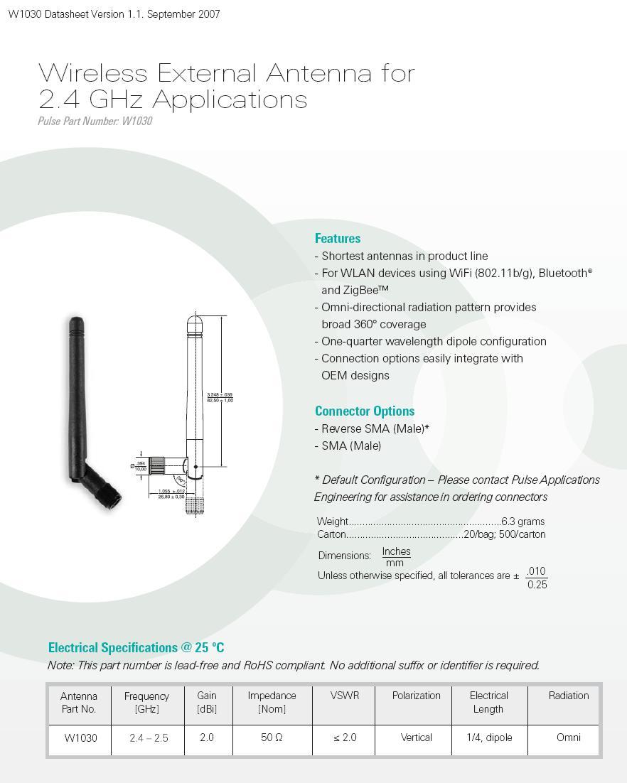 WiFi antenna, 2.4GHZ, 1/4 DIPOLE, RP-SMA ANT RPSMA
