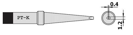 Forrasztópáka hegy WTCP SCR. 25mm 1.2mm 400* WEL.8PT-K