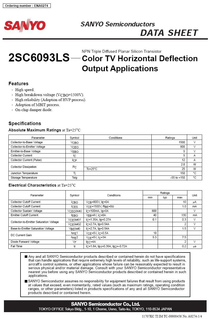 Tranzisztor NPN+DR 1500/800V 5A/12Ap. 25W 0.2uS CTV-HA 2SC6093LS 2SC6093LS -
