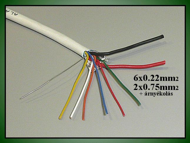 Riasztókábel (árnyékolt) 6x0.22, 2x0.75mm2 CABLE S/06+2/07