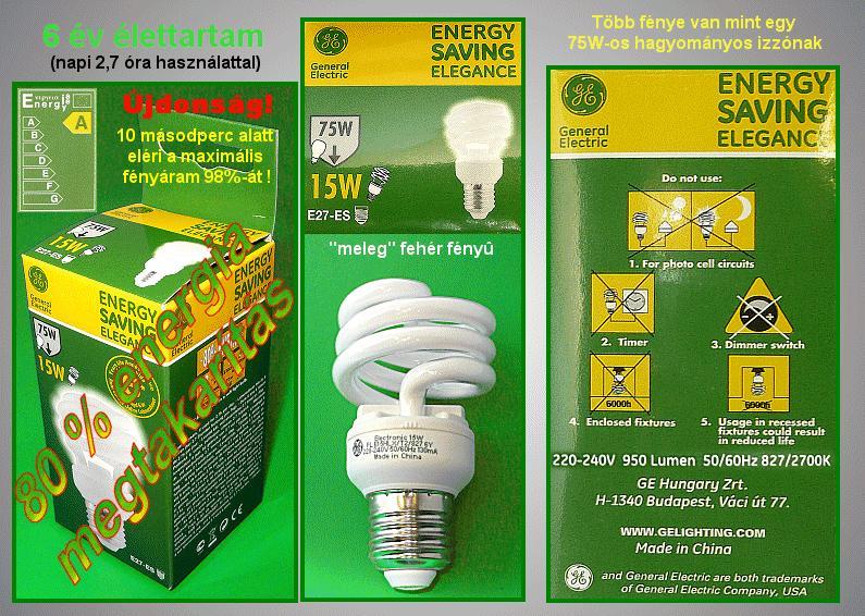 Kompakt fénycső Spirál FLE15HLXT2/827/E27 6Y LAMP E27/15W-827S