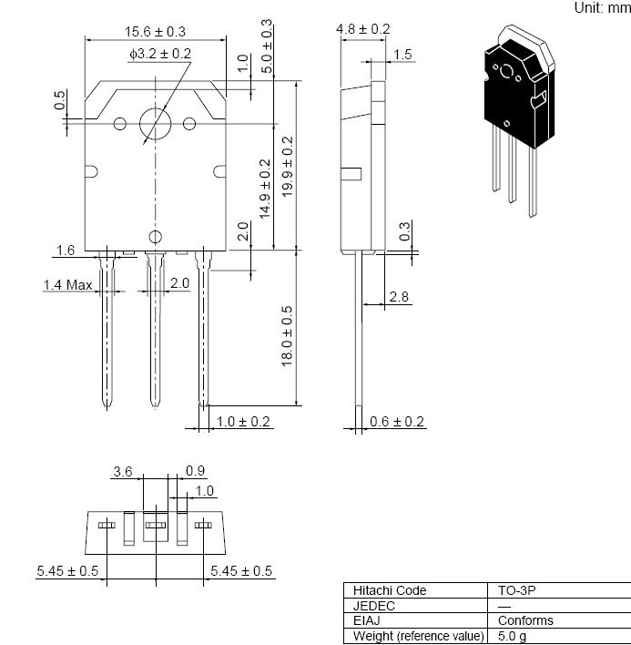 Tranzisztor P-MOSFET+D 160V 7A 100W 230/110nS 2SJ162 2SJ162 -
