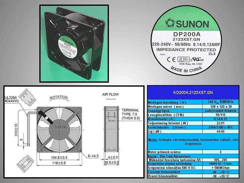 230V ventilátor 120x120x38mm DP200A2123XST.GN CY 230/12038