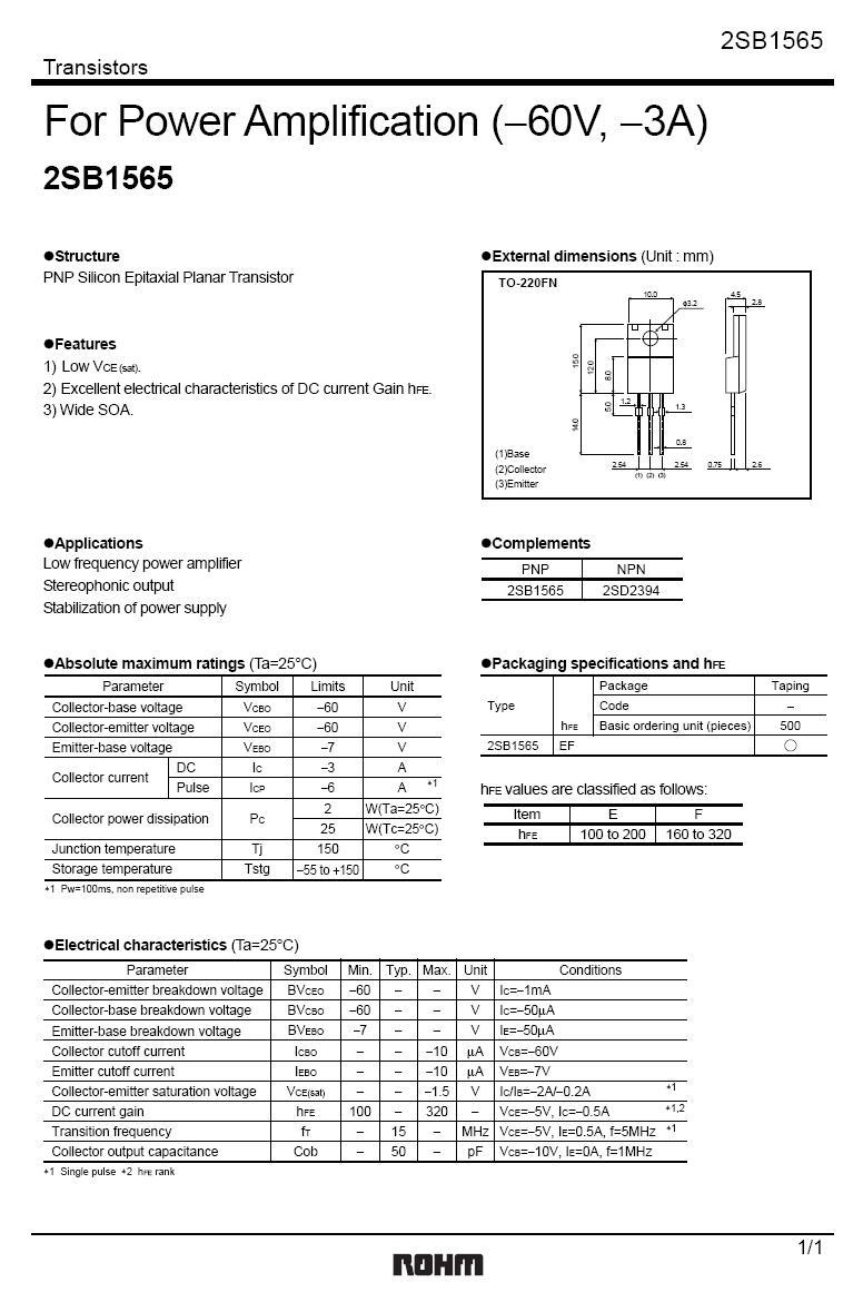 SI-P 80V 3A 25W 15MHz NF/L 2SB1565 -