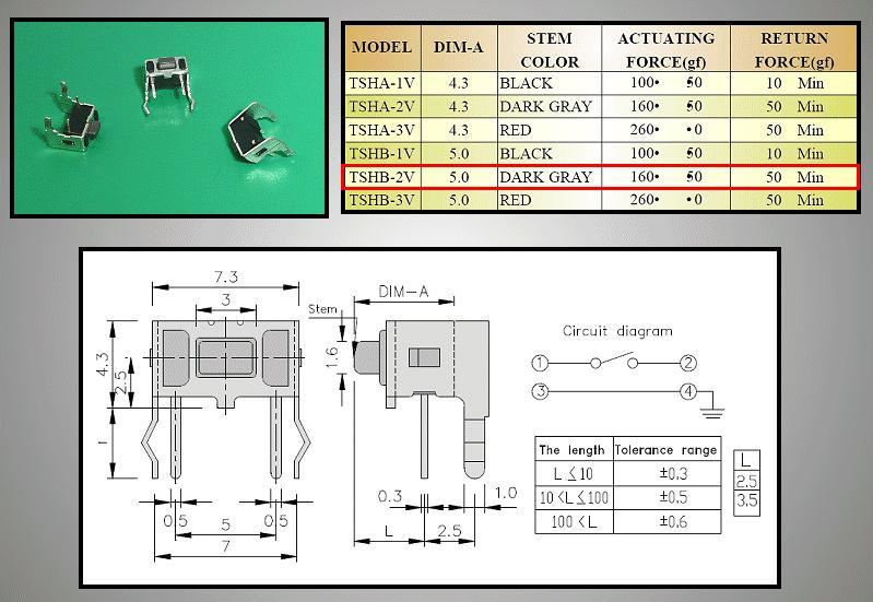 Mikrokapcsoló 6x3.5mm 4p. 90° gomb:1mm (nyomóerő:100g) SW100634/010-100