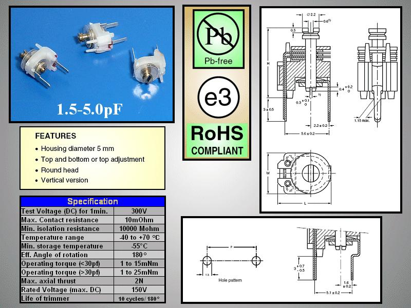 Trimmer kondenzátor, fólia, 5.6mm 1.5-5pF 150V C-FT5/1.5-5