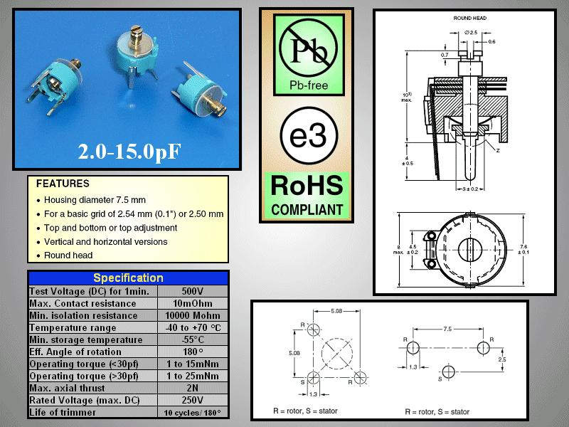 Trimmer kondenzátor, fólia, 7.1mm 3-15pF C-FT7/2-15